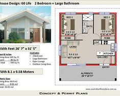 60 Life foot- 60 Living Area / 2 Bedrooms + Granny Flat House design granny flat requirements-Concept House Plans For Sale - - 2 Bedroom House Design, Flat House Design, 2 Bedroom House Plans, Cottage House Plans, Modern House Design, House Plans For Sale, Beach House Plans, Modern House Plans, Tiny House Plans