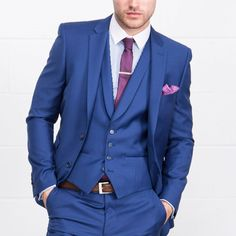ONESIX5IVE Three Piece Slim Fit Blue Suit - Three Piece Suits - Mens Suits - Suits & Tailoring   Slaters