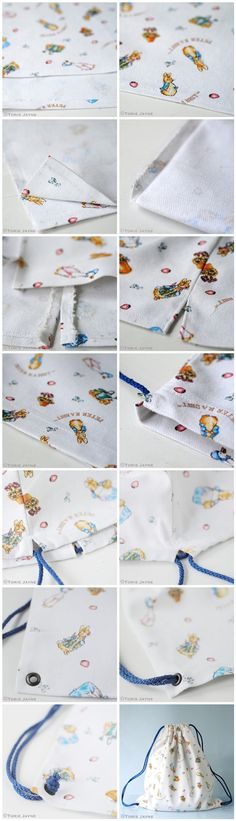 Peter Rabbit drawstring back pack tutorial by Torie Jayne