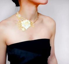 yellow flower lace necklace // gold necklace // by LaceFancy