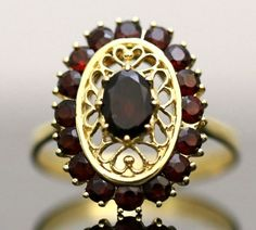 VINTAGE 18K SOLID YELLOW GOLD & 2.04CT RED GARNET GEMSTONE ESTATE COCKTAIL RING #Handmade #Cluster #Anniversary