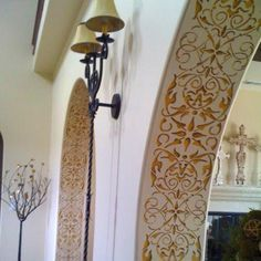 Living Room and Entry Way Ideas - Intricate and Detailed Arabesque Border Stencils - Classic Border Stencils for Walls, Columns, and Ceilings - Royal Design Studio Painted Stair Risers, Casa Magnolia, Design Marocain, Decoration Entree, Tuscan Decorating, Decorating Ideas, Decor Ideas, Royal Design, Tuscan Style