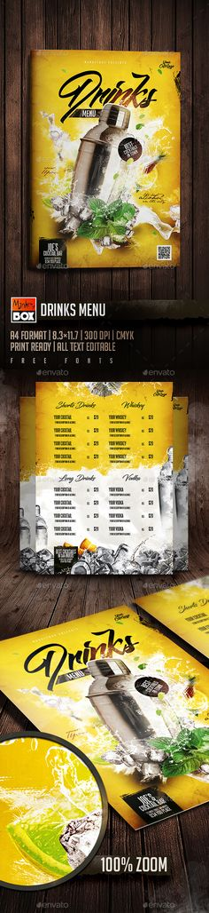Drinks Menu: Format 300 DPI CMYK Print Ready All Text Editable Free fonts Used: (Bignoodle-titling) : htt Food Menu Template, Restaurant Menu Template, Restaurant Menu Design, Menu Templates, Menu Flyer, Menu Printing, Food Menu Design, Drink Menu, Bar Drinks
