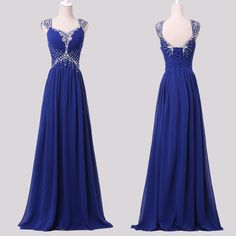 CHARMING Prom Party long Ball Gown Bridesmaid Evening Cocktail Blue Dresses 2015 #GraceKarin #BallGown #Formal
