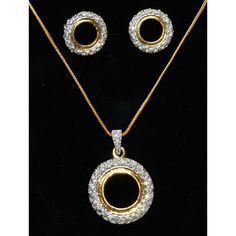 CZ studded two tone white & gold plated pendent set  - Online Shopping for Pendants by Ami Designs