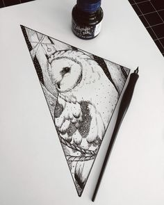 By: drewillustrates Geometric Owl Tattoo. 11x14 Ink on bristol Blackwork