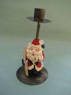 Christmas Xmas Santa Claus Candle Stick Metal Darling