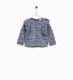 Image 1 of FRILLED T-SHIRT WITH TEXTURED WEAVE from Zara