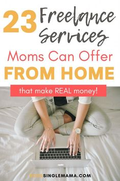 Interested in making money online as a stay at home mom? Offering freelance services could be the answer. Learn 23 freelance services moms can offer to make money online. Make Real Money, Make Money From Home, Make Money Online, Thing 1, Working Moms, Writing Services, Online Work, Virtual Assistant, Money Tips