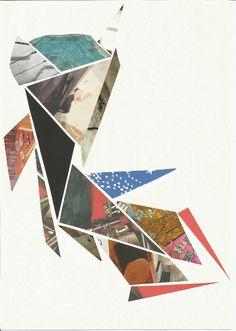 PEZ DORADO  #collage #cutout #mixture #colors #art #triangles