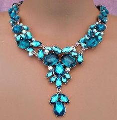 Blue, Green and Teal Rhinestone Costume Jewelry Necklace Sets - Bridesmaids, Pageant and Prom Teal Jewelry, I Love Jewelry, Jewelry Box, Jewelry Accessories, Vintage Jewelry, Jewelry Necklaces, Bling Jewelry, Unique Jewelry, Collier Turquoise