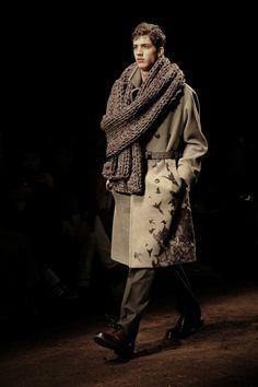 Bird print coat and oversized scarf at Salvatore Ferragamo AW15 Milan. See more here: http://www.dazeddigital.com/fashion/article/23261/1/salvatore-ferragamo-aw15