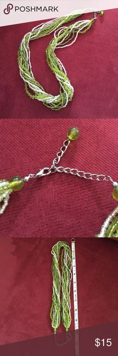 """Beautiful Green Multi-strand Necklace Fun multi-strand green and white beaded necklace.  Approximately 11"""", could be elongated by another inch or so with attached chain. Jewelry Necklaces"""
