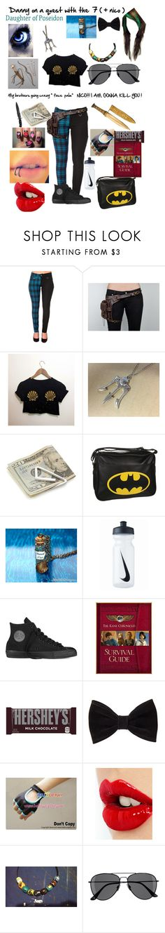 """Danny on a quest with her ( nerdy ) brother and the 7 ( + nico )"" by that-dead-emo-chick ❤ liked on Polyvore featuring Crate and Barrel, Disney, NIKE, Converse, Kane, Hershey's, Forever 21, Charlotte Tilbury and H&M"