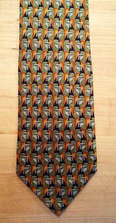 Ermenegildo Zenga Geometric Leaf Green Orange Navy Blue Silk Neck Tie Necktie #ErmenegildoZegna #NeckTie