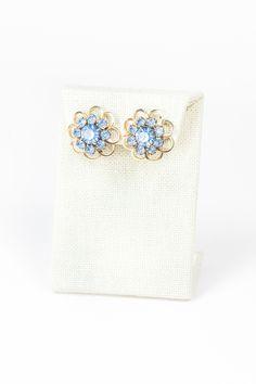 60's__Vintage__Blue Lace Flower Earrings