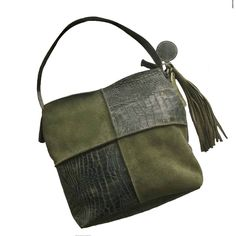 Handmade leather bag Croco & suede in olive green by Tutti Concepts