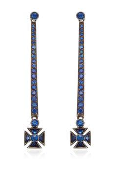 Crown Drop Earrings In 18K Blackened White Gold by Sybarite for Preorder on Moda Operandi