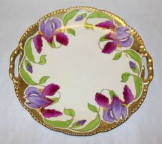 Stunning Antique HNDPNTD Signed Stein Purple Iris Royal Rudolstadt Prussia Plate | eBay