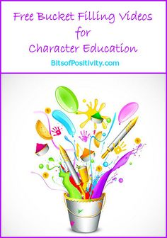 Free Bucket-Filling Videos (including songs) for Character Education Elementary School Counseling, School Social Work, School Counselor, Elementary Schools, Character Education Lessons, Teaching Character, Character Counts, Bucket Filler Activities, Social Emotional Learning
