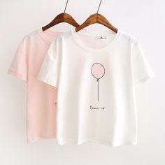 Summer T-shirts Women Fashion Tee Top Lovely Balloon Printed Short Sleeve  Female T-shirt Women Tops 2017 New 680ebf10d002