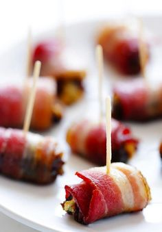 3-Ingredient Bacon-Wrapped Dates | This easy appetizer recipe is the perfect dish to bring to any party!