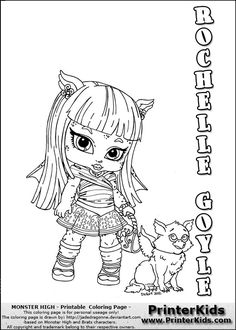 this printable colouring sheet show a cute baby or chibi version of rochelle goyle that is standing with her pet monster description from i searched for - Monster High Chibi Coloring Pages