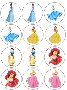"Single Source Party Supply - 2.5"" Disney Princess Cupcake Edibl Icing Images"