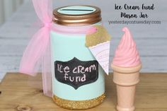 Ice Cream Fund Mason Jar Craft - Mason jar crafts are very popular right now, but this one is very unique and something that kids will love. This Ice Cream Fun Mason Jar Craft turns a jar into a piggy bank that kids can use to save up for the ice cream truck.