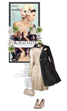 """- la Fuerza de Elegance -"" by iamnotsuperman-ak ❤ liked on Polyvore featuring Ted Baker, Notte by Marchesa, WithChic, Givenchy, metallicdress and goldmetallicdress"
