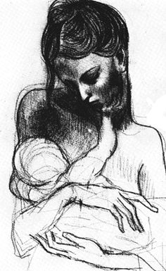 abstract mother and child | picasso-sketch