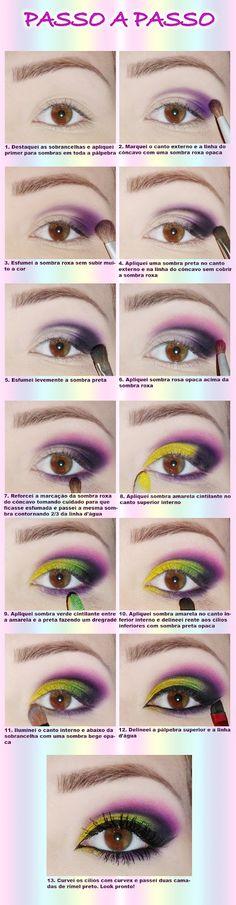 Mil faces: Tutorial de maquiagem colorida com cores fortes