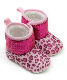 Take a look at this Hot Pink Leopard Sequin Boot by Tender Toes on #zulily today!