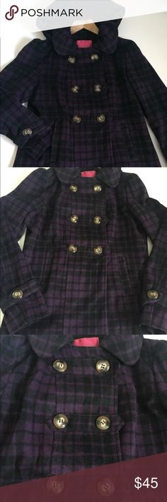 Pink Envelope Wool Plaid Coat Purple and grayish black plaid coat by Pink Envelope in great condition. Features rounded collar, hood, side pockets. Falls below the waist. Tagged a size large but runs small.  I believe I bought this at Macy's. It doesn't fit me anymore otherwise I'd never part with it!  Add your likes to a bundle to receive a private offer just for you! The bigger the bundle, the better the discount. Pink Envelope Jackets & Coats