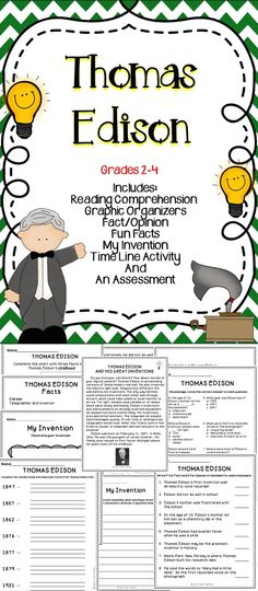 Thomas Edison - Are you looking for a supplemental resource to teach your students about the famous American Thomas Edison? If so, this fun filled activity pack is just what you are looking for! All of the activities were creating using The Common Core Standards and The TEKS. #edison