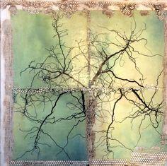Original encaustic painting Twig by lvhdesigns on Etsy