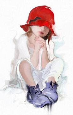 A fun image sharing community. Explore amazing art and photography and share your own visual inspiration! Watercolor Portraits, Watercolour Painting, Painting & Drawing, Watercolors, Red Hat Society, Painting People, Red Hats, Red White Blue, Amazing Art