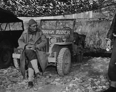 """""""Brigadier General Theodore Roosevelt, Jr., assistant commander of the 1st Infantry Division during the invasion of Sicily, shown here with his jeep in January 1944. An admirer described him with four adjectives: 'Bald, burnt, gnarled, and wrinkled.'"""" -Rick Atkinson, """"The Day of Battle"""""""