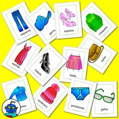 Spanish clothing flash cards