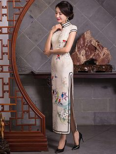 FMS-15150A Birds and floral Chinese watercolor painting long cheongsam mandarin collar dress 005