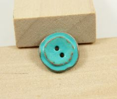Greenish Blue Metal Buttons , 2 Holes , 0.47 inch , 10 pcs by Lyanwood, $5.00