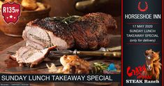 Sunday Lunch Special @ The Crazy Horse Steak Ranch – Horseshoe Inn Chicken Flavored Rice, Chicken Flavors, Lamb Gravy, Spinach Noodles, Restaurant Specials, Roast Lamb Leg, Pizza Special, Sticky Chicken, Lunch Specials