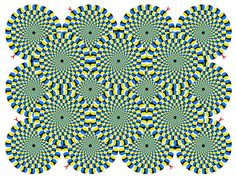 These circles seem to squiggle perhaps because of blinks and tiny eye movements called microsaccades, say scientists in a new study. Credit: Akiyoshi Kitaoka