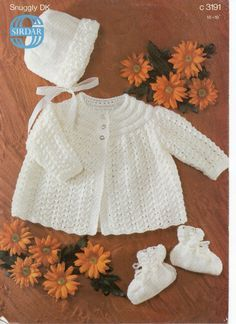 Baby Knitting Pattern Baby Matinee Coat Bonnet & Bootees Baby Matinee jacket 18-19 inches DK Baby Knitting Patterns PDF Instant Download