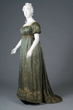 Dress of the day: Evening dress of embroidered blue-green silk lampas, probably French, ca. 1805, KSUM Kent State University Museum