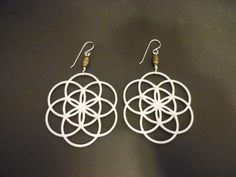 Flower of Life 3D Printed Earrings by 3DPrintImagination on Etsy, $30.00