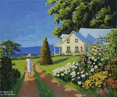 Rémi Clark, 'Le chemin vers la maison est fleuri', 10'' x 12'' | Galerie d'art - Au P'tit Bonheur - Art Gallery