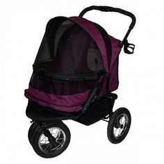 No Zip Boysenberry Double Dog Stroller – Bark Label