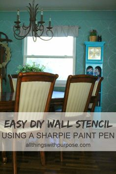 All Things With Purpose: Easy DIY Wall Stencil with a Paint Pen I wouldn't use this on a wall but great technique for a smaller project.