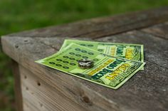 Lottery tickets or scratch cards for wedding favours